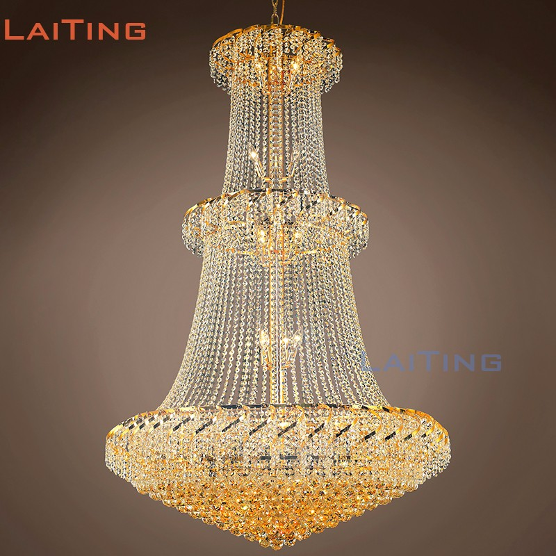 Zhong Shan Factory Large Gold Crystal Chandelier For Hotel Lobby & Dinning Hall