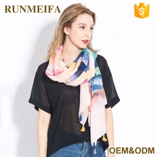 High Quality Cotton And Linen Designer Shawl Scarf And Female Ombre Color Linen Multifunctional Scarves