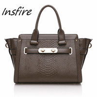 good quality crocodile skin genuine leather business handbag for women