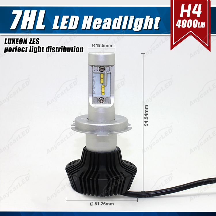Perfect light distribution 7th brightest 9000lm h4 led headlight auto led h4