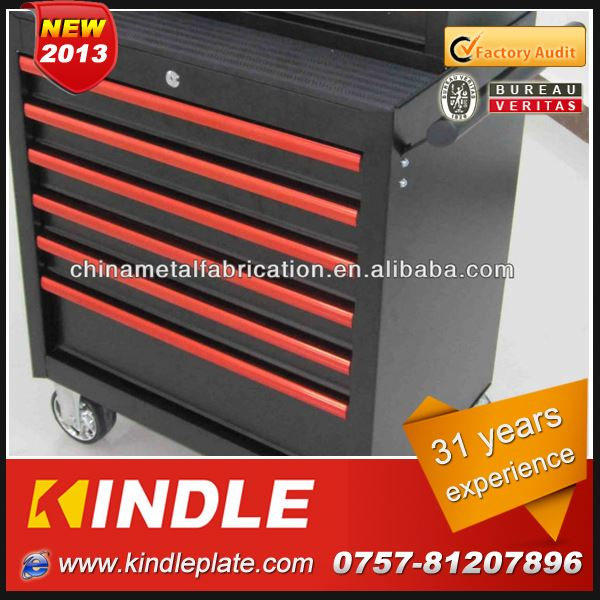 Kindle 2013 New Custom movable Industrial aluminum tool chest with Heavy drawers and wheels