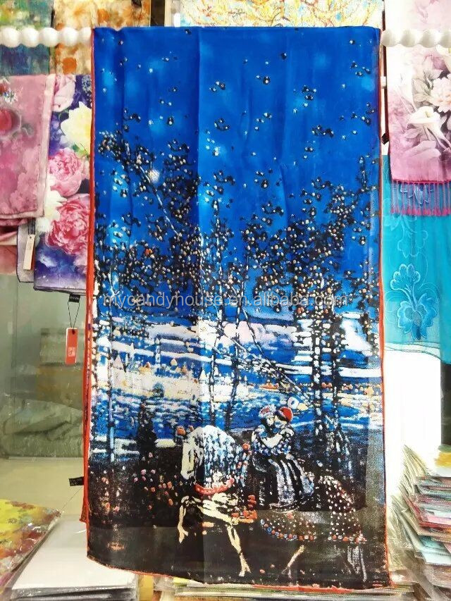 Excellent painting silk tudung bawal