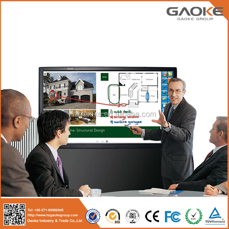 "Gaoke 55-98"" inch touch screen interactive multi finger touch flat panel displays LED LCD touch screen monitor smart whiteboard."