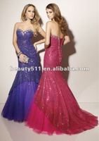 mermaid/sheath bling bridesmaid dress with flair skirt and luxurious sequins BD91003