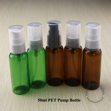 50ml green PET facial cream lotion pump spray bottle container cosmetic plastic liquid spray bottle