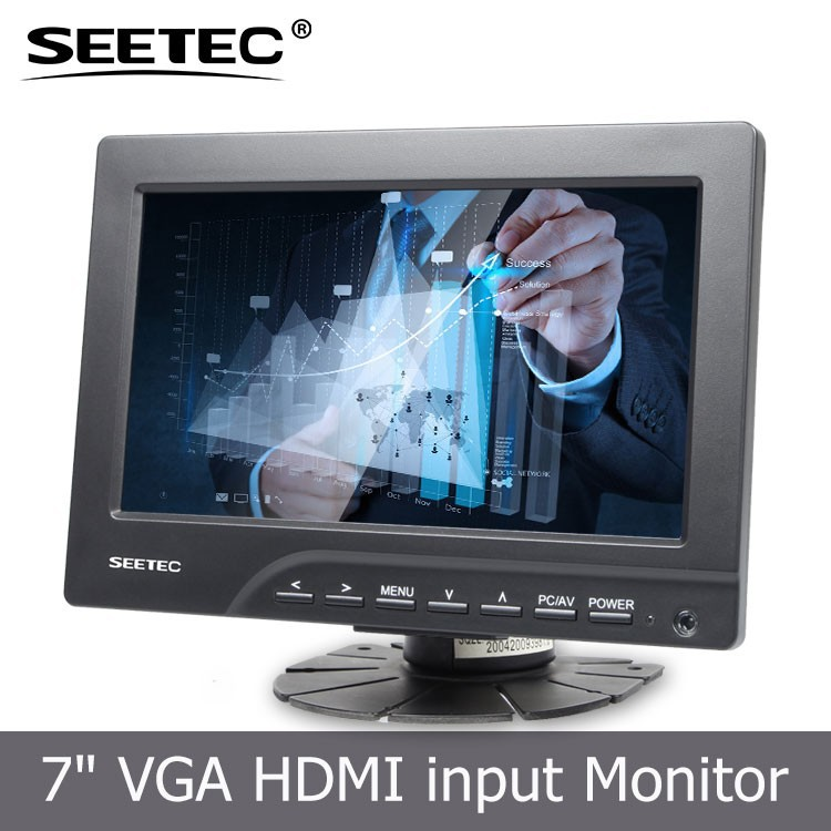 7 pouces pas cher vga vid o audio hdmi dvi tft lcd couleur de voiture moniteur cran tactile. Black Bedroom Furniture Sets. Home Design Ideas