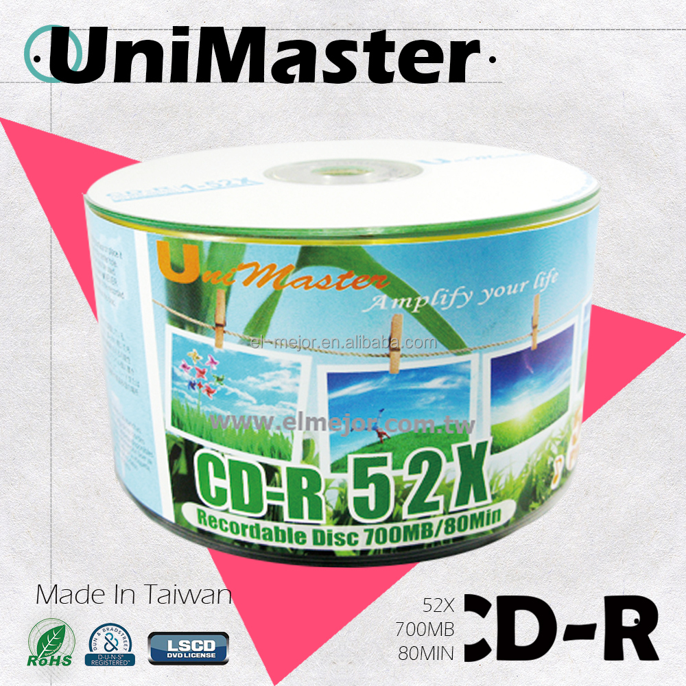 blank cdr 52x A Grade Taiwan disc manufactured by UniMaster