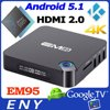 Hot tv box EM95 Amlogic S905 1G 8GB or 2G 16G Android 5.1 KODI Newest 2.4G WIFI With External Antenna android tv box/OTT TV BOX