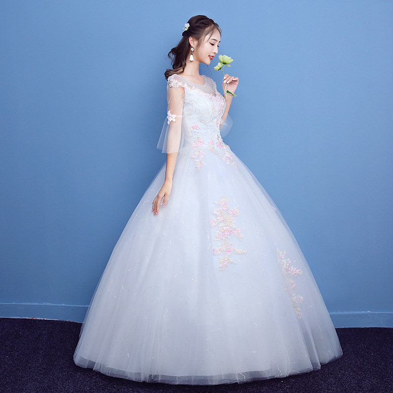 ZH0465Q 2018 new Korean fashion lace backless vintage wedding dress