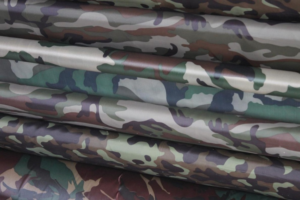 Camouflage color 100% polyester 200T pa coated waterproof printed tent taffeta fabric