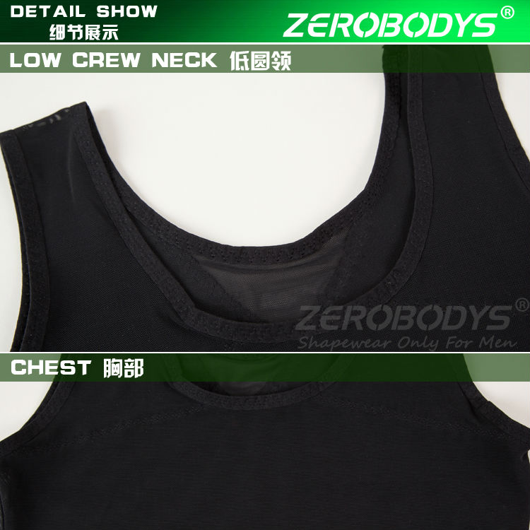 379 BK ZEROBODYS Powerful Mens Body Shaper 170g Powernet Vest Black Tops for Men Men's Elastic Body Slim Control Body Men