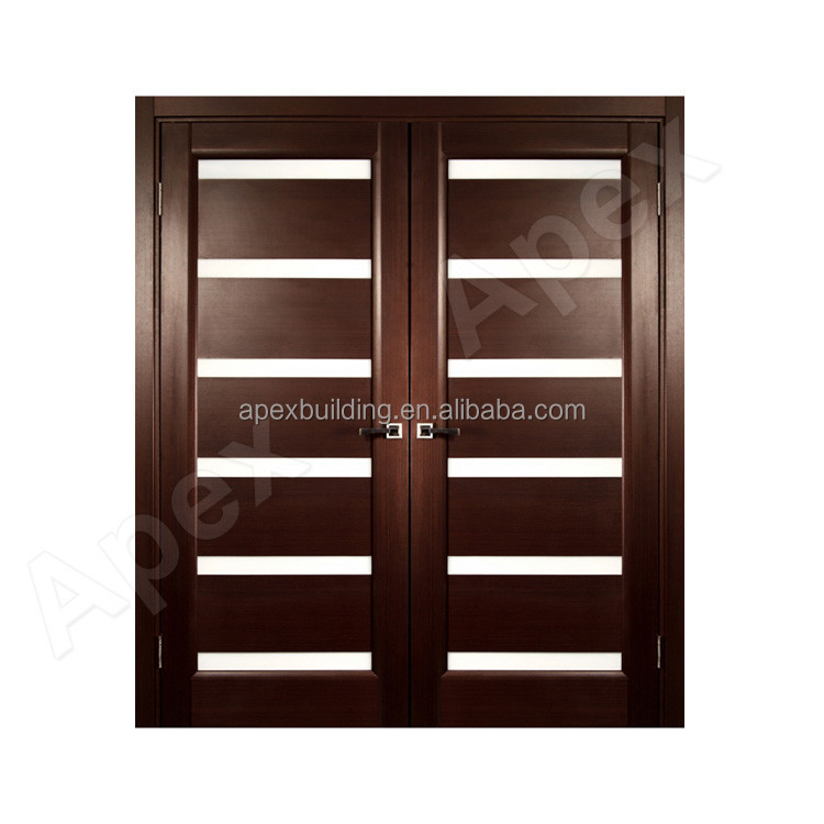 Walnut color front door design wooden double door design for Double wood doors with glass