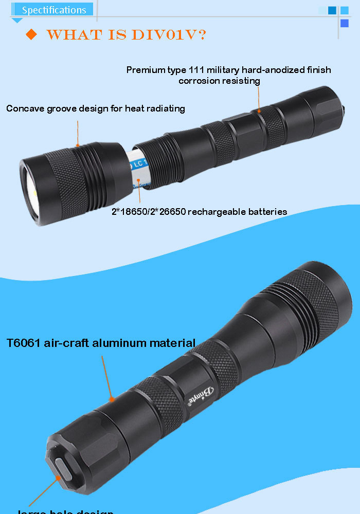 Powerful 1050 lumens portable led video diving torch