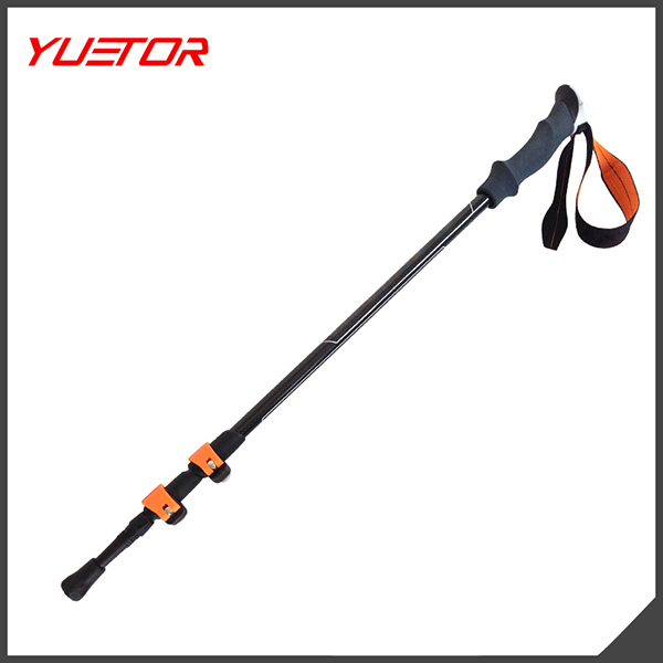 Flip Lock 3 Sections Retractable Carbon Nordic Walking Stick