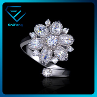 Size Adjustable Curve Band Design Flower Shape Zircon Ring