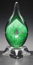 High Quality Delta Green Art Glass Award Trophy