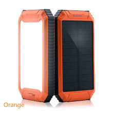 PowerGreen Dual USB Ports 10000mAh Portable Solar Power Bank Solar Cell Phone Charger with Flashlight