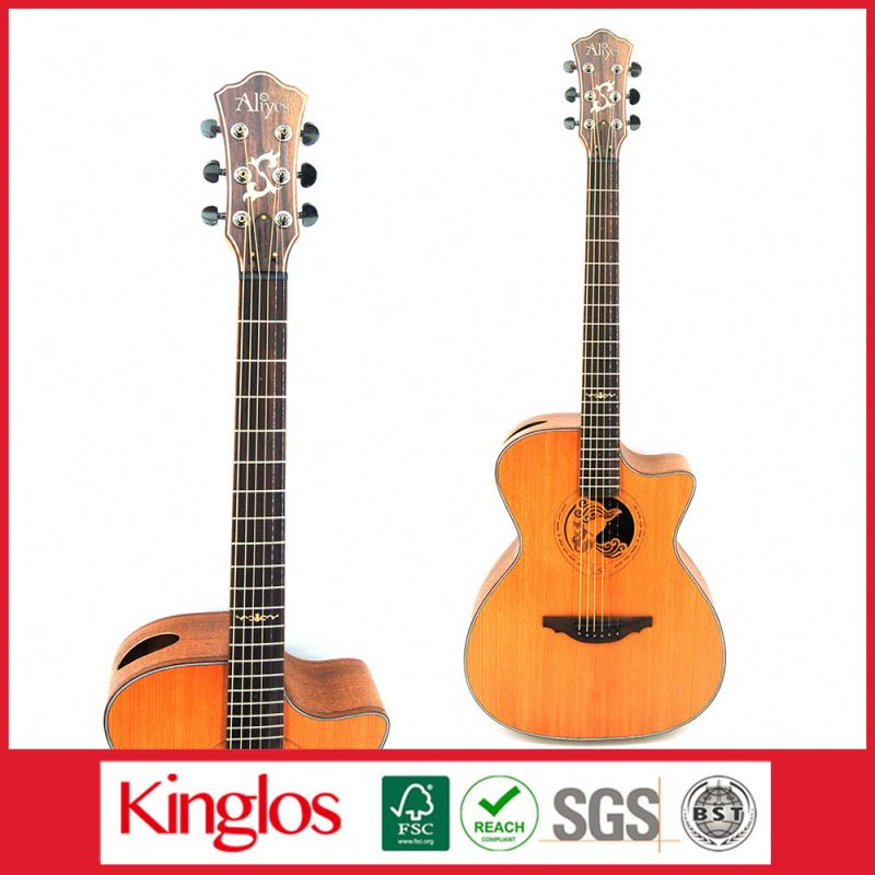 "Popular Basswood Acoustic Guitar Dreadnaught Cutaway 39""40""79 Inch with spcialcarving design (S41U-009-052)"