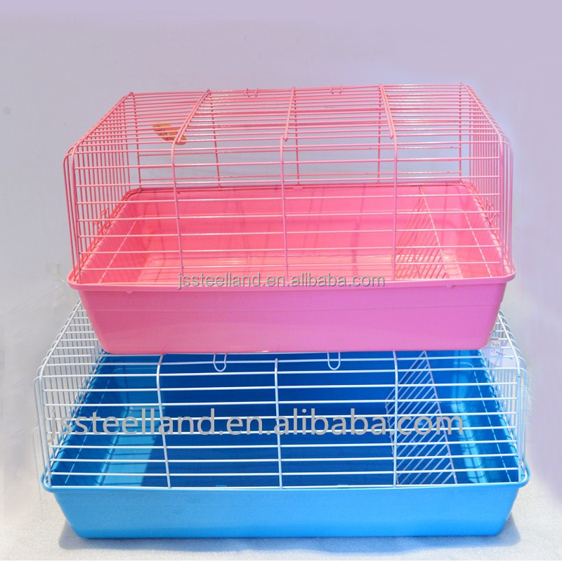 easy clean durable metal wire rabbit hutch with plastic tray