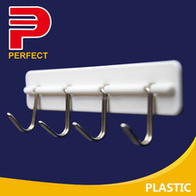 Plastic self stick utility hook rack 4hooks and 5 hooks