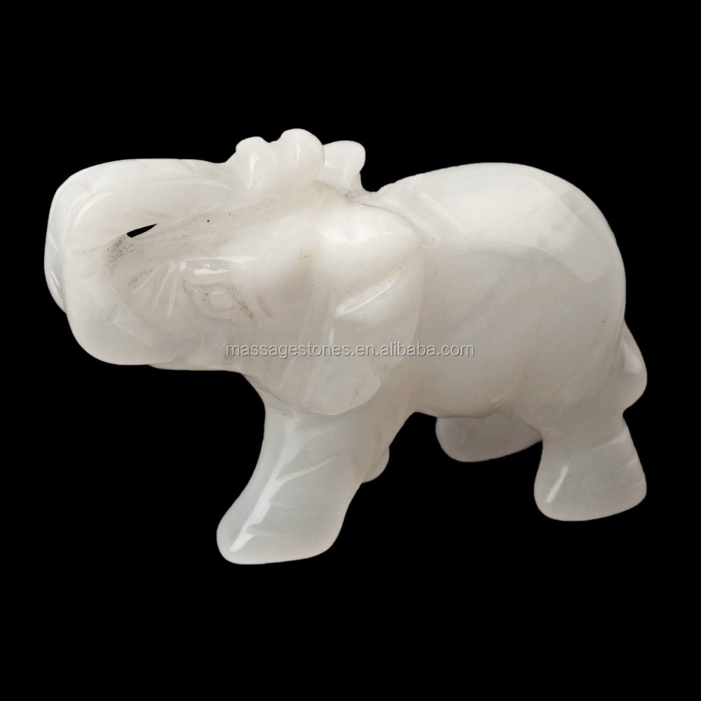 "Bulk 2"" White Jade Carving Elephant Statue 2015 Feng Shui Crafts Natural Stone Carved Figurine Chakra Carving Stones"