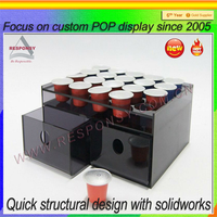 Customized Countertop Black Plastic Coffee Paper Cup Display Holder