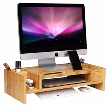2-Tier Bamboo Monitor Stand with Adjustable Laptop Storage Organizer