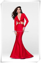 Red elegant two pieces sexy mermaid evening dress wholesale new fashion alibaba wedding gowns for women