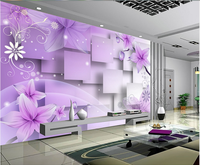 China good supplier direct sale purple flower custom 3d wallpaper and mural of restaurant home hotel decoration