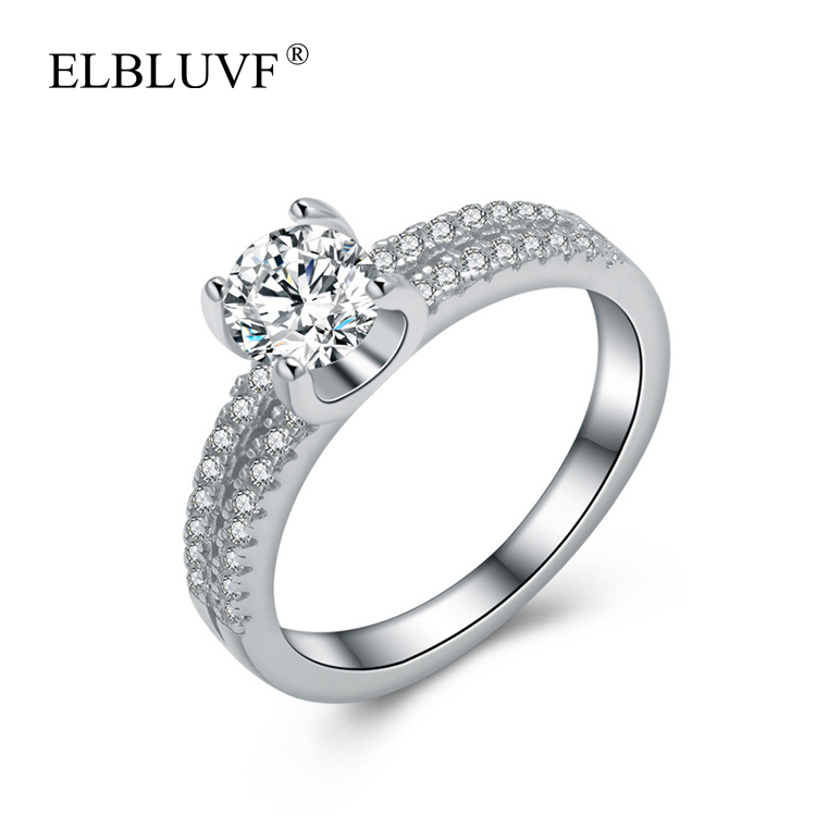 ELBLUVF 925 Sterling Silver Exquisite Twin Zircon Ring Jewelry For Engagement