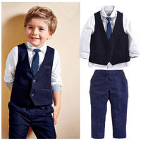 GG119A hot sale cotton kids baby boys tuxedo suit shirt waistcoat tie pants formal outfits clothes