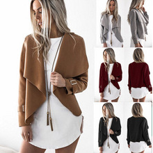 X63202A Turn-down Collar Long Sleeve Open Stitch Outwear Irregular Casual Female Coats