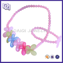 cute pink beads with butterfly shape necklace bracelet sets for beautiful girls,simple popular style kids jewelry set