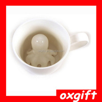 OXGIFT White Cartoon ceramic 3D Octopus coffee cup/cute ceramic octopus coffee mug