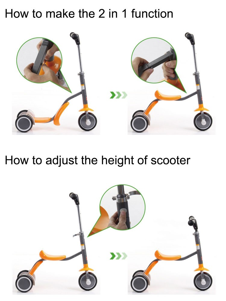 2 in 1 style 3 wheel kids scooter