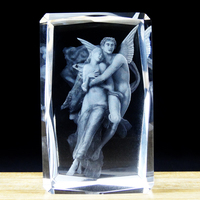 Good quantity 3d laser crystal Angel with double angles religion gods