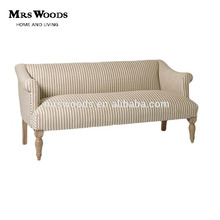 french country style wooden stripe beige upholstered furniture living room sofa