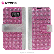 IVYMAX Premium Luxury Lady Style Bling Diamond Magnetic Crystal Leather Book Cover for samsung galaxy s7 wallet case
