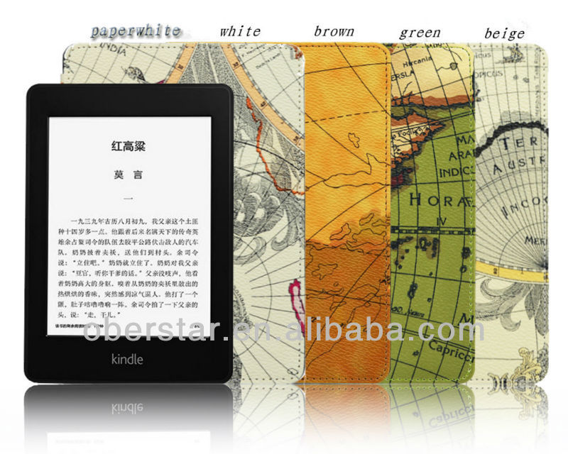 High Quality World Map Grain PU Leather Holster Cases For Amazon Kindle Paperwhite