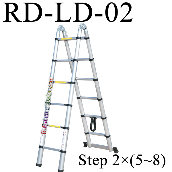 14 foot step telescopic parts folding wooden ladder