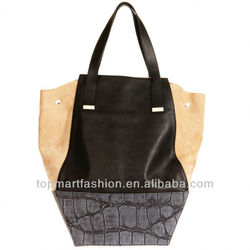 2014 spring fashion genuine leather bag leather and suede tote bag