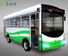 Star8 RHD/LHD electric vehicle solar city public bus 23open shuttle bus sightseeing car 23seat with LED rolling ads panel