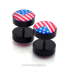 Wholesale acrylic fake cheater ear plug tunnel American flag body piercing jewelry