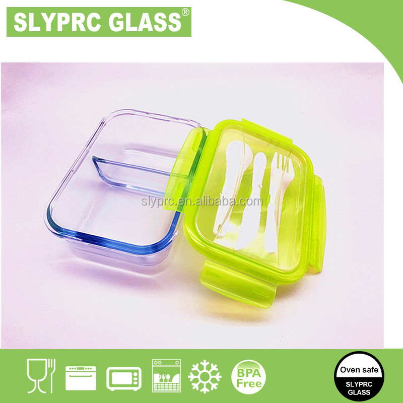 New 2-compartment glass premium meal prep/food divider bento lunch box with spoon fork lid
