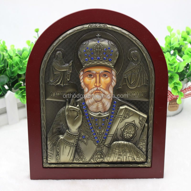 A&J Strong production low price religious wooden frame icons,Orthodox Silver Icon.