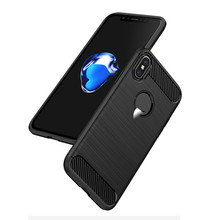 New Products iPaky Original Brand Soft TPU Anti-fingerprints Carbon Fiber Brushed Phone Case for iPhone X
