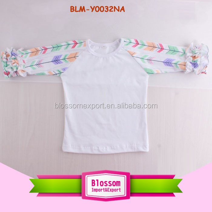 New Arrow Printed Pattern Design Wholesale 3/4 Sleeve Triple Ruffle Raglan Child Tshirt Children Boutique Icing Ruffle T Shirts