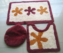 Skid resistance Anti-mildew Bath mat with Lid cover and U shape bathroom set / 3PCs or 2 pcs bathroom Rug
