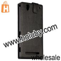 Black Vertical Up and Down Magnetic Flip Leather Case Cover for Sony Xperia T2 Ultra