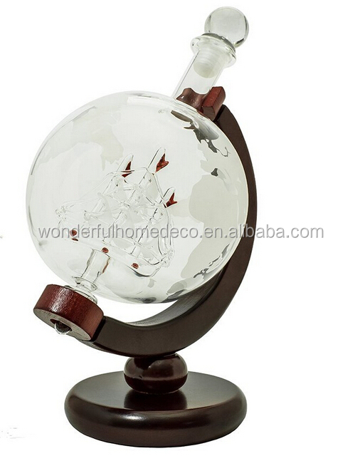 Hot Sale World Globe Decanter with Antique Ship Inside Design